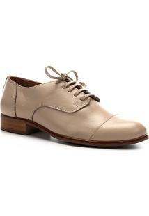 Oxford Couro Shoestock Fachete Feminino - Feminino-Off White