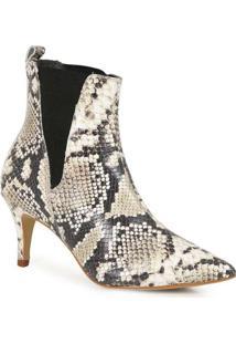 Ankle Boots Feminina Lara Cobra Bege