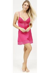Camisola Acetinada Com Renda & Bordados- Pink- Fruitfruit De La Passion