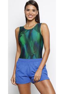 Body Abstrato Com Tiras Posteriores- Verde & Azuldellamare