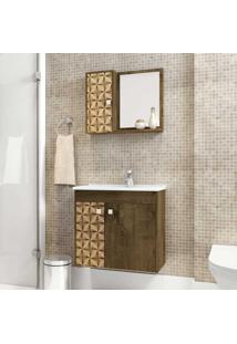 Armário De Banheiro Suspenso Com Cuba Munique 2075180 Rústico - Bechara Móveis