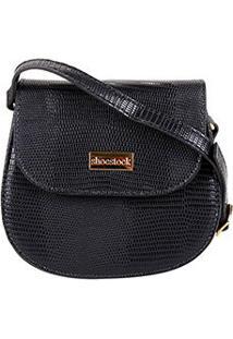 Bolsa Shoestock Transversal Lezard Mini Bag Feminina - Feminino-Preto