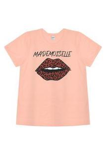 T-Shirt Feminina Mademoiselle Rovitex Rosa
