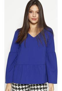 Blusa Com Franzidos & Recortes - Azul Royal- Moisellmoisele