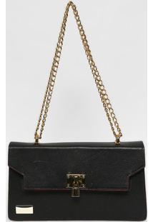 Bolsa Em Couro Com Corrente- Preta & Dourada- 15,5X2Anette