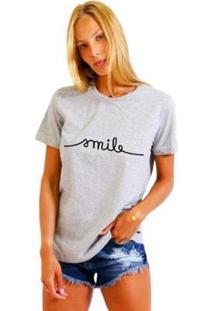 Camiseta Joss Estampada Smile Feminina - Feminino-Mescla