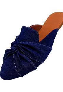 Mule Feminino Miss Confort Bico Folha Jeans - Kanui