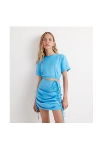 Blusa Cropped Em Cetim Com Mangas Curtas E Amarração Nas Costas | Blue Steel | Azul | Pp