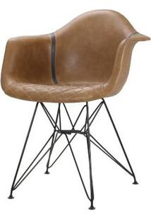 Cadeira Demi Courino Caramelo Base Preto 81Cm - 62845 - Sun House