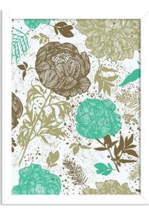 Quadro Decorativo Floral Verde Mesclado Branco - Grande