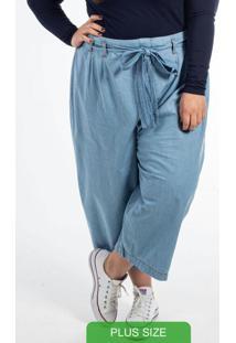 Calça Pantacourt Com Amarração Azul