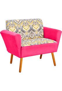 Sofá Retrô Namoradeira 2 Lugares Dora Estampado D77 Com Suede Rosa Barbie - D'Rossi