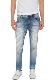 Calça Jeans Zune Slim Destroyed Azul