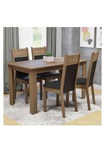 Conjunto Sala De Jantar Madesa Cali Mesa Tampo De Madeira Com 4 Cadeiras - Rustic/Preto/Sint Preto Marrom