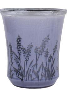 Vaso De Ceramica C/ Flores Roxo Med