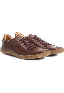 Sapatênis Couro Shoestock Cadarço Elástico Masculino - Masculino-Marrom