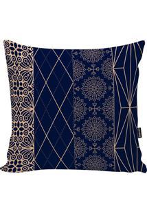 Capa De Almofada Indian- Azul Marinho & Dourada- 45Xstm Home
