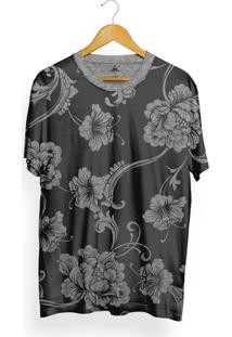 Camiseta Skill Head Full Print Floral/Chumbo - Masculino