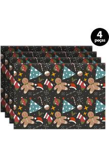 Jogo Americano Mdecore Biscoito 40X28Cm Colorido 4Pçs