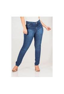 Calça Jeans Feminina Skinny Cós Alto Tonalidade Escuro