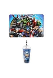 Kit Avengers Com Jogo Americano E Copo Shake Capitão America