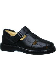 Sandália Couro Floater Doctor Shoes 306 Masculina - Masculino-Preto