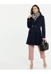 Casaco Marisa Trench Coat Manga Longa Feminino - Feminino-Azul Escuro