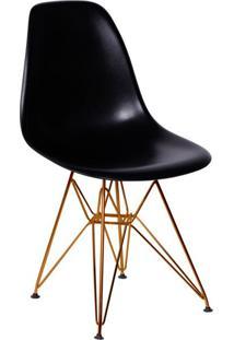 Cadeira Eames Eiffel Com Base Metal Preta