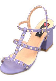 Sandália Salto Love Shoes Bloco Alto Tiras Spike Roxo
