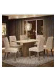 Conjunto Sala De Jantar Madesa Luciana Mesa Tampo De Madeira Com 6 Cadeiras - Rustic/Crema/Imperial