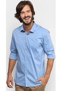 Camisa Calvin Klein Slim Fit Lisa Stretch Masculina - Masculino-Azul Claro