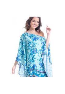 Kaftan 101 Resort Wear Vestido Plus Size Cetim Estampado Lenco Floral Verde