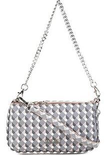 Bolsa Santa Lolla Mini Bag Risco Cubos Alça Corrente Feminina - Feminino-Nude