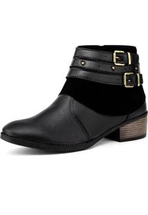 Bota Elegancy Ankle Bootstraps Preto