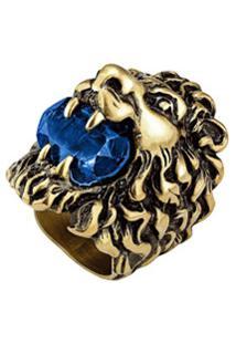 Gucci Anel Lion Head Com Cristais - Dourado