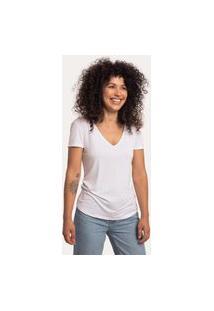 Camiseta Cora Básico Decote V Em Modal Branca