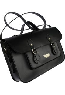 Bolsa Line Store Leather Satchel Média Couro Preto Premium - Kanui