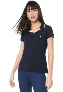 Camisa Polo Malwee Reta Lisa Azul-Marinho
