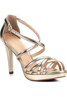 Sandália Shoestock Salto Fino Recortes Feminina - Feminino-Dourado