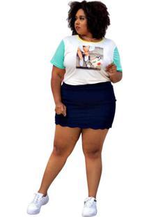 Blusa Almaria Plus Size Annes Bicolor Branco