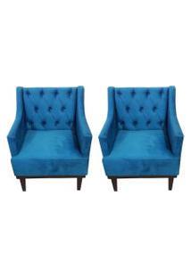 Kit 02 Poltronas Decorativa Clássica Capitonê Suede Azul Veludo - Ds Móveis