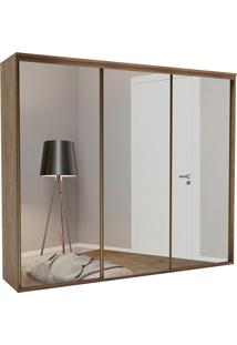 Guarda-Roupa Casal 2,67Cm 3 Portas C/ Espelho Luminum Fosco-Belmax - Ebano