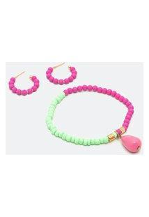 Conjunto Pulseira E Brinco Com Miçangas | Accessories | Rosa | U
