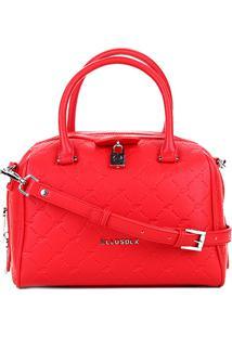 Bolsa Ellus Baú Bowling Bag Monograma Feminina - Feminino-Vermelho