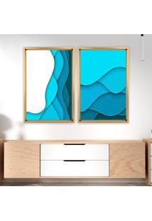Quadro Com Moldura Chanfrada Abstrato Azul Madeira Clara - Mã©Dio - Multicolorido - Dafiti