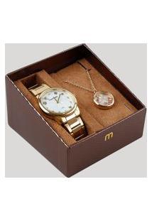 Kit De Relógio Analógico Mondaine Feminino + Pulseira - 53685Lpmkde1Ka Dourado