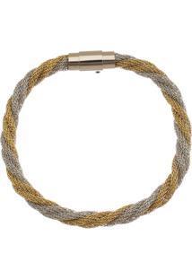 Bracelete De Aço Inox Tudo Joias Dupla Cor 6Mm De Largura Entrelaçado - Unissex-Dourado