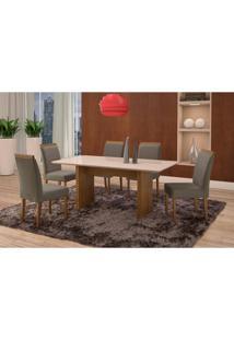Conjunto De Mesa De Jantar Com 6 Cadeiras E Tampo De Madeira Maciça Milão Reta Iii Suede Cinza E Off White