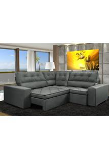 Sofa De Canto Retrátil E Reclinável Com Molas Cama Inbox Austin 2,60M X 2,60M Suede Velusoft Cinza