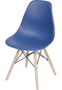 Cadeira Dkr Polipropileno E Base De Madeira Lawang – Azul Marinho